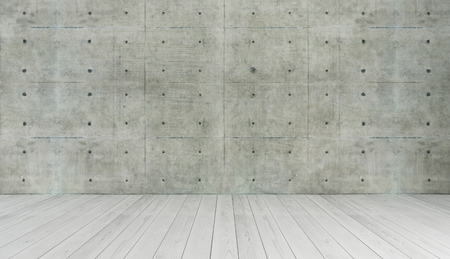 wall design: concrete wall and white wooden parquet decor like loft style, background, template design rendering