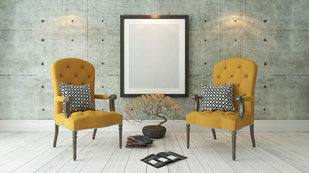 picture frames with double yellow bergere and concrete wall decor, background, template design