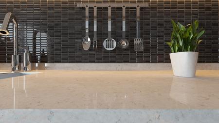 zwarte keramische moderne keuken ontwerp achtergrond met keuken marmer en bureau ruimte voor uw ontwerp en de montage product