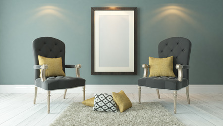 picture frames with dark gray bergeres and light green plaster wall decor, background, template design 3d rendering