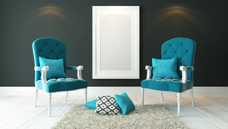 picture frames with blue bergeres and dark gray plaster wall decor, background, template design 3d rendering