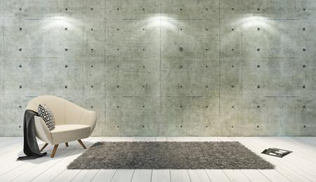 betonnen muur en witte houten parket decor zoals loft stijl met een enkele zetel, achtergrond, sjabloon ontwerp rendering Stockfoto