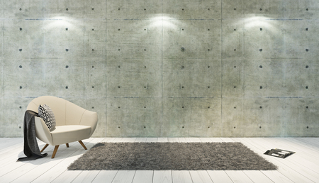 wall decor: concrete wall and white wooden parquet decor like loft style with single seat, background, template design rendering Stock Photo