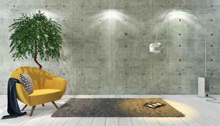 betonnen muur en witte houten parket decor zoals loft stijl met gele enkele zetel, achtergrond, sjabloon ontwerp 3D-rendering