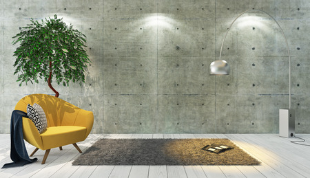 concrete wall and white wooden parquet decor like loft style with yellow single seat, background, template design 3d rendering