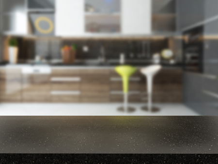 empty black granite desk with blurred kitchen background 3d rendering available in high-resolution needs of your project for montage product