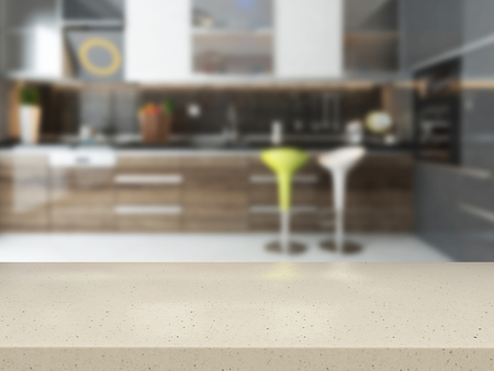 empty white stone desk with blurred kitchen background available in high-resolution 3d rendering needs of your project for montage product