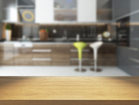 empty wooden desk with blurred kitchen background 3d rendering available in high-resolution needs of your project for montage product Zdjęcie Seryjne