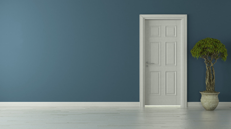 high-resolution closed door with blue wall concept 3D rendering background for your project