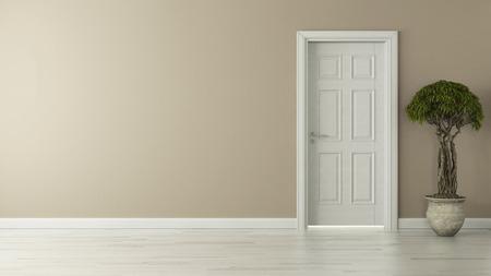 de alta resolución cerró la puerta con el concepto de la pared 3D renderizado en segundo plano para su proyecto