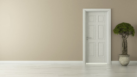 high-resolution closed door with wall concept 3D rendering background for your project Zdjęcie Seryjne