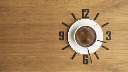 high-resolution coffee and time concept 3D rendering background for your project