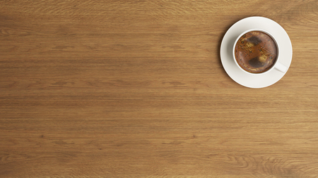 high-resolution coffee and wooden desk concept 3D rendering background for your project