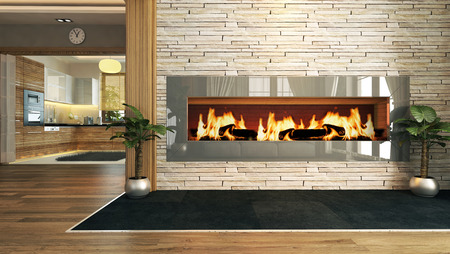 living room with fireplace 3D design and rendering for your project
