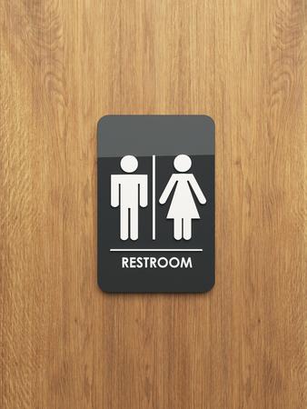 public restroom sign on the wood 3D design and rendering for your project Reklamní fotografie - 65863949