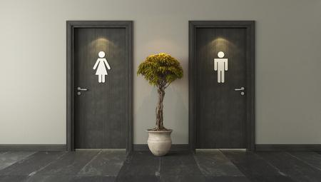 프로젝트의 벽 3D 설계 및 렌더링 검은 화장실 문 스톡 콘텐츠
