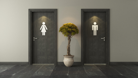 black restroom doors with wall 3D design and rendering for your project