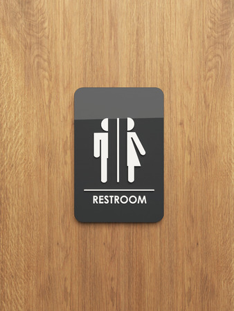 public restroom sign on the wood 3D design and rendering for your project Reklamní fotografie - 65863952