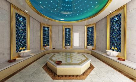 Modern Turks bad 3D-ontwerp en rendering Stockfoto