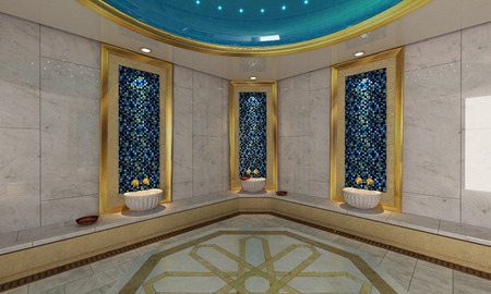 turkish bath: Turkish bath modern 3D design and rendering for your project