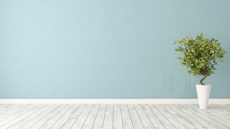 blauwe muur lege kamer met groene planten in vaas 3D-rendering Stockfoto