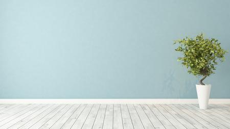 niebieskie ściany pusty pokój z zielonych roślin w wazonie renderowania 3D Zdjęcie Seryjne