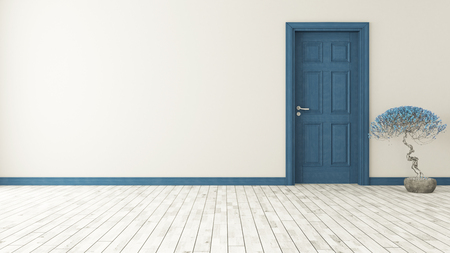 dark blue door with wall and parquet 3d model rendering