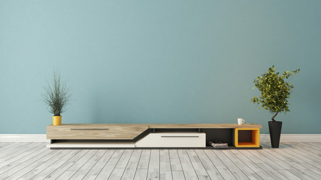 living unit: modern tv stand design with blue wall in the room decoration idea 3d rendering
