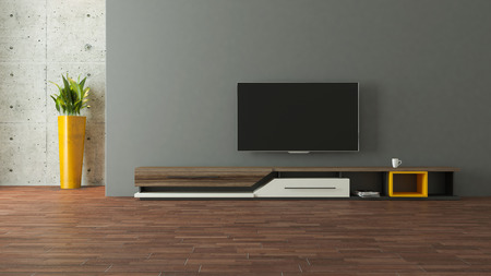 modern tv stand design with wall in the room decoration idea 3d rendering