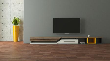 moderne tv standontwerp met muur in de kamer decoratie idee 3D rendering Stockfoto