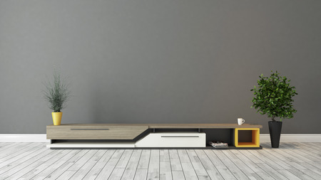 modern tv stand design with grey brown wall in the room decoration idea 3d rendering
