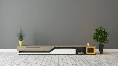 moderne tv standontwerp met grijze bruine muur in de kamer decoratie idee 3D rendering Stockfoto