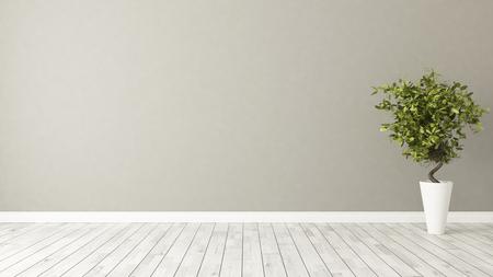 lichtbruine muur lege ruimte met groene planten in vaas 3D-rendering