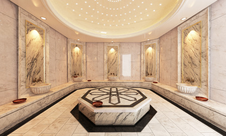 Modern marble Turkish bath 3D design and rendering
