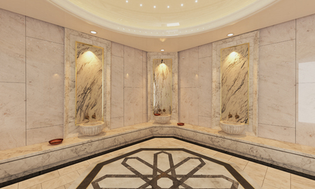 marble stone: Modern marble Turkish bath 3D design and rendering