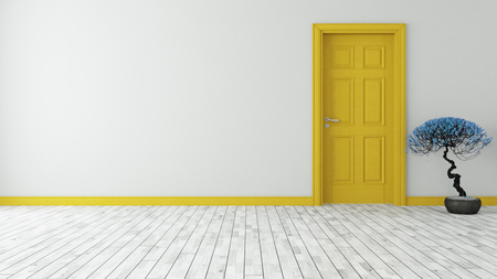 dark yellow door with wall and parquet 3d model rendering