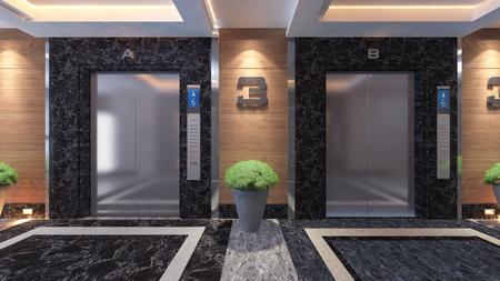 modern metal elevator design idea 3d rendering. Zdjęcie Seryjne