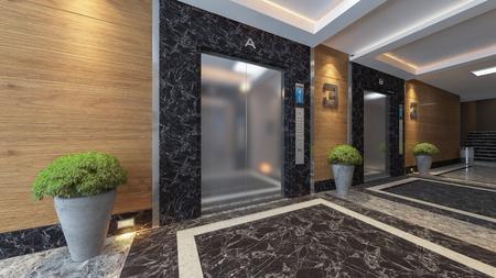 Moderno diseño de ascensor de metal 3d rendering. Foto de archivo - 84054694