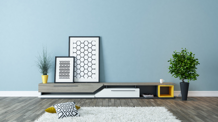 modern tv stand design with blue wall and photo frames in the room decoration idea 3d rendering  스톡 콘텐츠