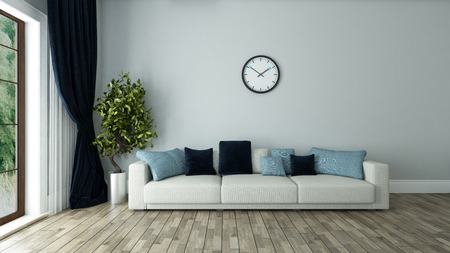 blue wall living room interior design with seat and watch 3d rendering