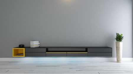 Black tv stand with plant in the room decor idea 3d rendering Zdjęcie Seryjne
