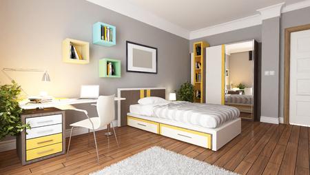 Tiener jong slaapkamer interieur ontwerp idee Stockfoto