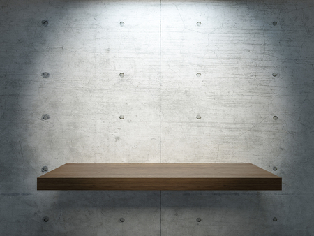 wooden stand under spot light with concrete wall for mock up