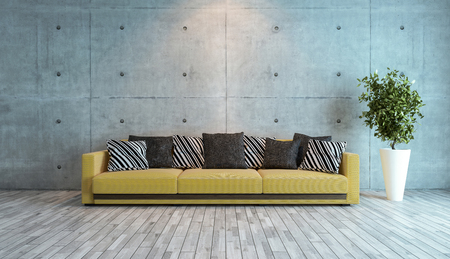 living room interior design with concrete wall 3d rendering