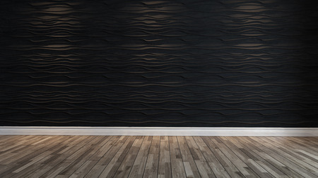 empty black wave wall with spot light and parquet design idea  Zdjęcie Seryjne