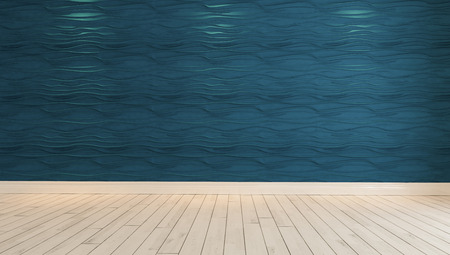 empty blue wave wall with spot light and parquet design idea 3D rendering by Sedat SEVEN