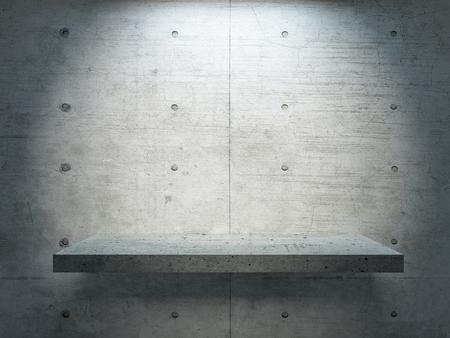 beton staan onder spotlicht met betonnen wand voor mock up