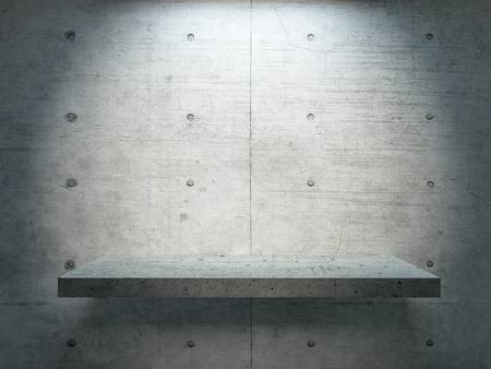 concrete stand under spot light with concrete wall for mock up