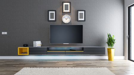 tv room, salon or living room with covered wallpaper wall plant and black tv stand design Zdjęcie Seryjne