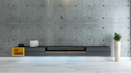 sala de tv, salón o sala de estar con planta de pared de hormigón cubierto y diseño de televisor negro Foto de archivo